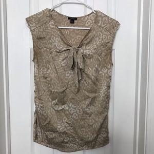 Ann Taylor Silk Tan Cheetah Bow Tank Shirt Blouse